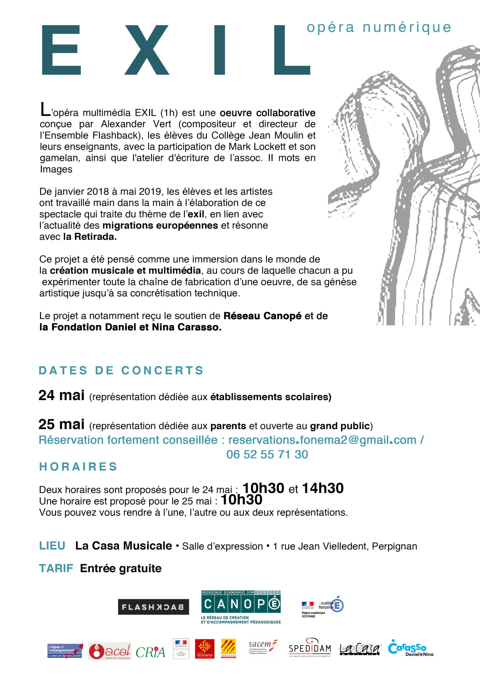 "Projet Fonema flyer du spectacle ""Exil"" 2019"